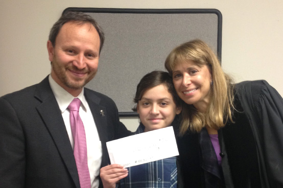 Displaying his maturity, compassion and gratitude, Michael Leesfield donates his Bar Mitzvah gift to two of his favorite charities.